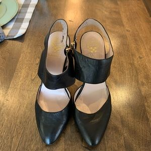 Sexy scrappy leather shoes! Open back